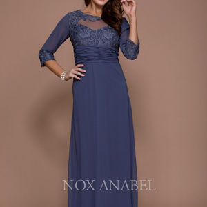 Long Mother of the Bride Illusion Neck Dress 5101